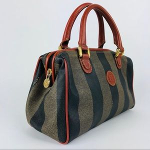 Vintage Fendi Pequin Pattern Boston Bag Crossbody